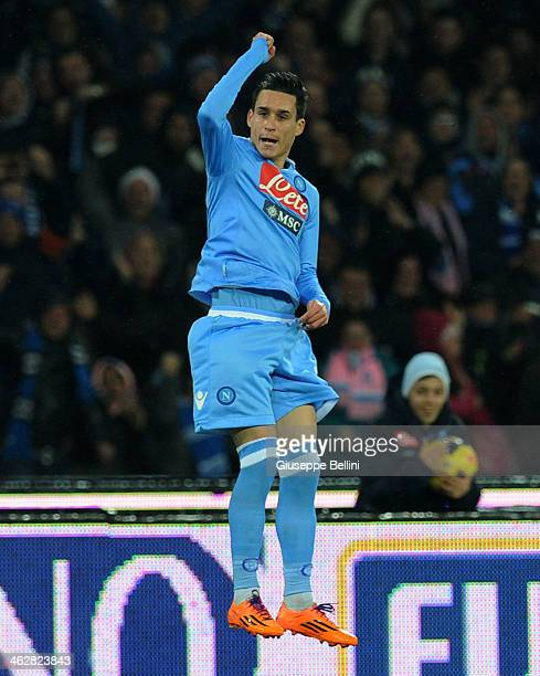Josè Maria Callejon o Napoli celebrates after scoring the goal 11 during the Tim cup match between SSC Napoli and Atalanta BC at Stadio San Paolo on...