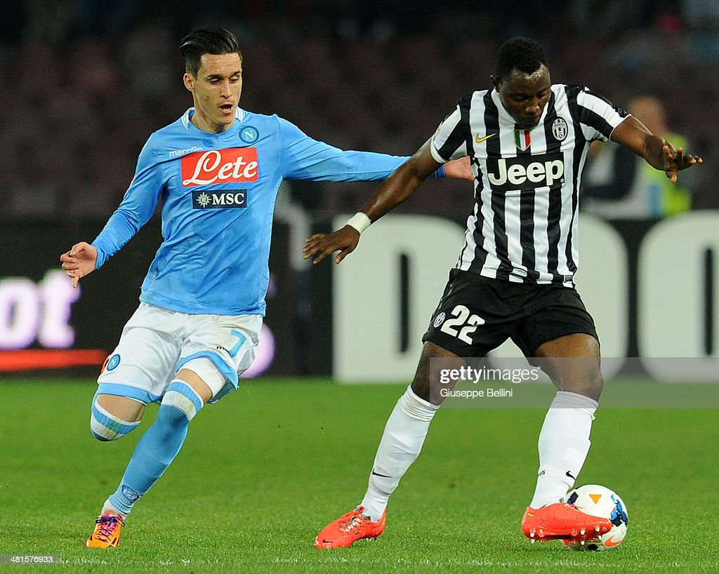Josè Maria Callejon of Napoli and Kwadwo Asamoah of Juventus in action during the Serie A match between SSC Napoli and Juventus at Stadio San Paolo on March 30, 2014 in Naples, Italy.