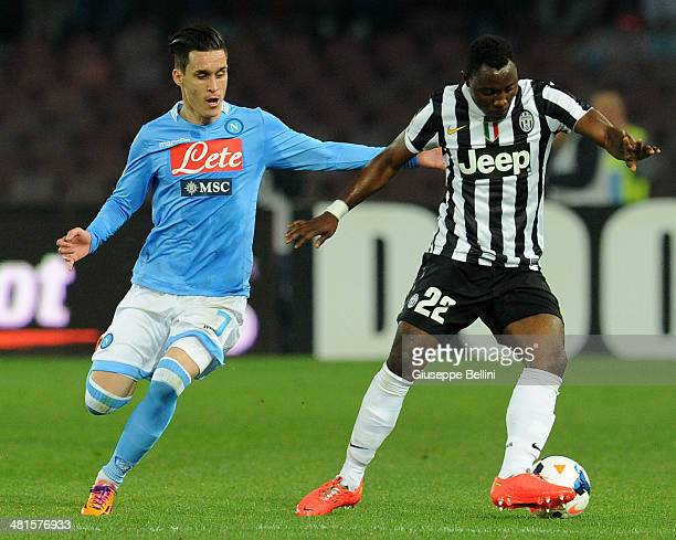 Josè Maria Callejon of Napoli and Kwadwo Asamoah of Juventus in action during the Serie A match between SSC Napoli and Juventus at Stadio San Paolo...