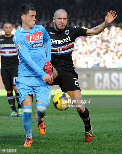 Josè Maria Callejon of Napoli and Lorenzo De Silvestri of Sampdoria in action during the Serie A match between SSC Napoli and UC Sampdoria at Stadio...
