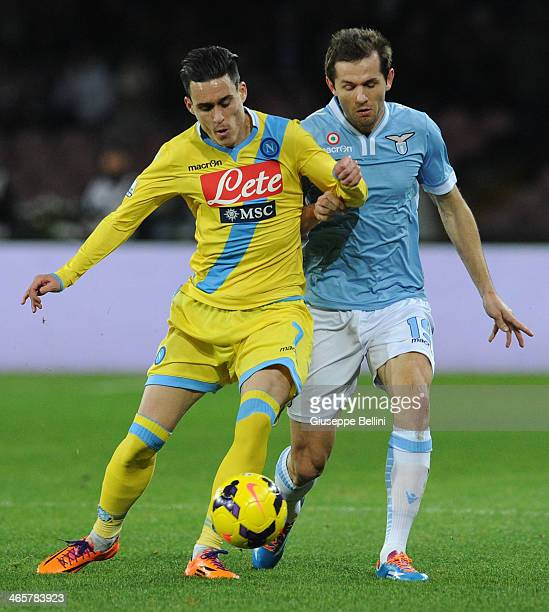 Josè Maria Callejon of Napoli and Senad Lulic of Lazio in action during the TIM Cup match between SSC Napoli and SS Lazio at Stadio San Paolo on...