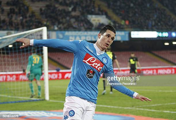 Josè Maria Callejon of Napoli celebrates after scoring goal 30 during the TIM Cup match between SSC Napoli and Hellas Verona FC at Stadio San Paolo...