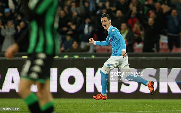 Josè Maria Callejon of Napoli celebrates after scoring the equalizing goali during the Serie A match between SSC Napoli and US Sassuolo Calcio at...