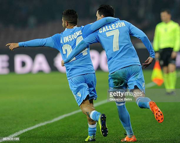 Josè Maria Callejon of Napoli celebrates after scoring the goal 31 during the Tim cup match between SSC Napoli and Atalanta BC at Stadio San Paolo on...