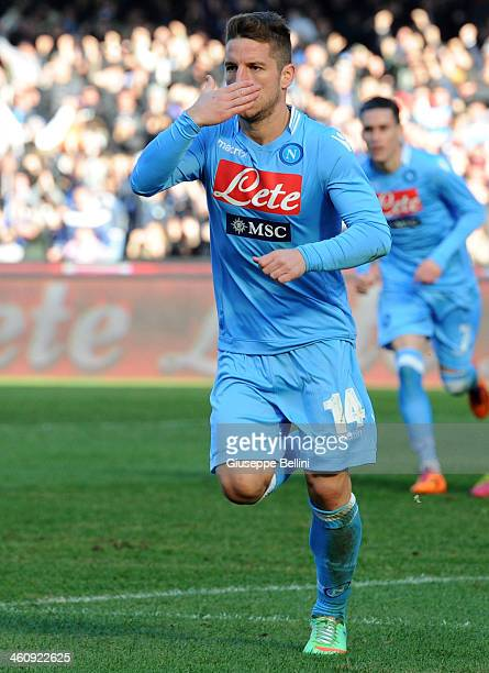 Josè Maria Callejon of Napoli celebrates after scoring the opening goal during the Serie A match between SSC Napoli and UC Sampdoria at Stadio San...