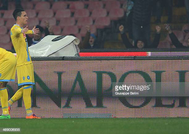 Josè Maria Callejon of Napoli celebrates after scoring the opening goal during the TIM Cup match between SSC Napoli and AS Roma at Stadio San Paolo...