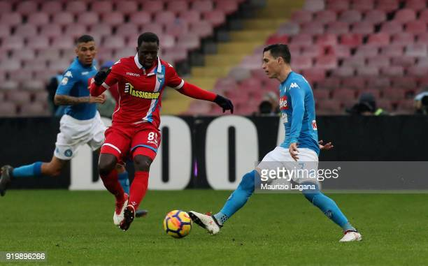 Josè Maria Callejon of Napoli competes for the ball with Boukary Drame of Spal during the serie A match between SSC Napoli and Spal at Stadio San...