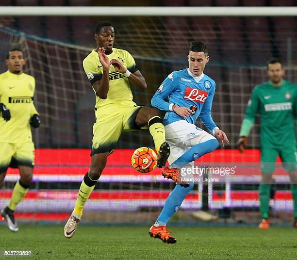 Josè Maria Callejon of Napoli competes for the ball with Geoffrey Kondogbia of Inter during the TIM Cup match between SSC Napoli and FC...
