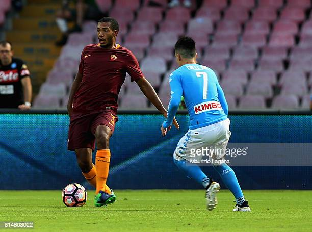 Josè Maria Callejon of Napoli competes for the ball with Juan Jesus of Roma during the Serie A match between SSC Napoli and AS Roma at Stadio San...