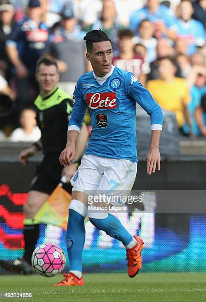 Josè Maria Callejon of Napoli during the Serie A match between SSC Napoli and ACF Fiorentina at Stadio San Paolo on October 18 2015 in Naples Italy