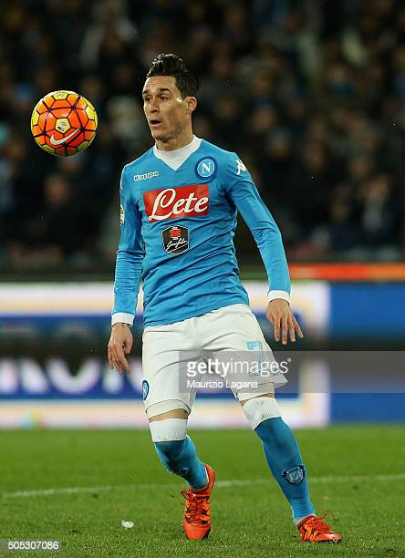 Josè Maria Callejon of Napoli during the Serie A match between SSC Napoli and US Sassuolo Calcio at Stadio San Paolo on January 16 2016 in Naples...