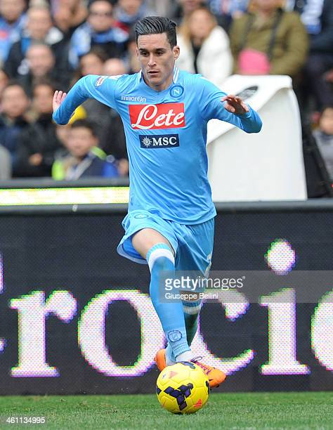 Josè Maria Callejon of Napoli in action during the Serie A match between SSC Napoli and UC Sampdoria at Stadio San Paolo on January 6 2014 in Naples...