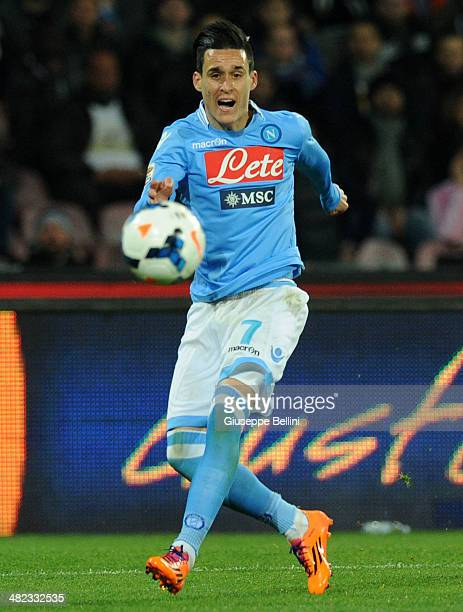 Josè Maria Callejon of Napoli in action during the Serie A match between SSC Napoli and Juventus at Stadio San Paolo on March 30 2014 in Naples Italy