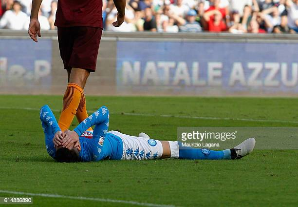 Josè Maria Callejon of Napoli shows his dejection during the Serie A match between SSC Napoli and AS Roma at Stadio San Paolo on October 15 2016 in...