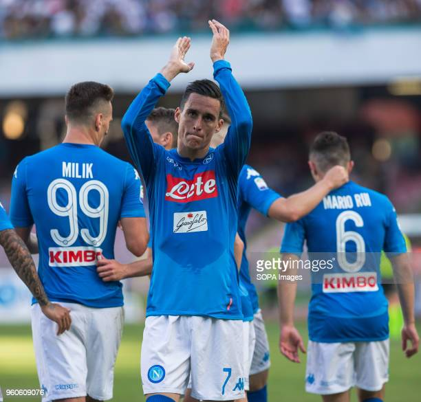 STADIUM NAPLES CAMPANIA ITALY José Maria Callejon of SSC Napoli celebrates after scoring during the Serie A football match between SSC Napoli and FC...