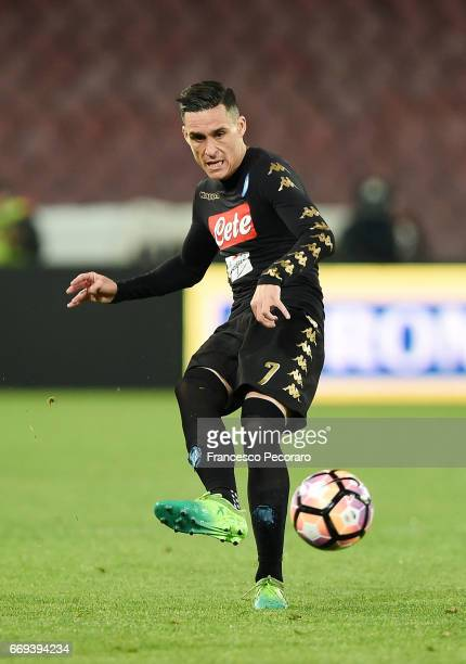 Josè Maria Callejon of SSC Napoli in action during the Serie A match between SSC Napoli and Udinese Calcio at Stadio San Paolo on April 15 2017 in...
