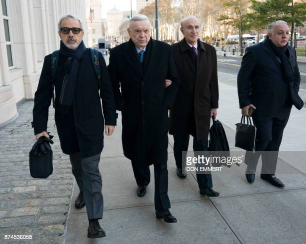 José Maria Marin of Brazil one of three defendants in the FIFA scandal arrives at the Federal Courthouse in Brooklyn on November 15 2017 in New York...