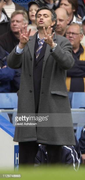 Jos?® Mourinho Chelsea manager during Chelsea v Fulham at Stamford Bridge 23 April 2005.