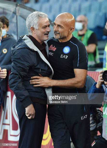 Josè Mourinho head coach of AS Roma and Luciano Spalletti head coach of SSC Napoli prior the Serie A match between AS Roma and SSC Napoli at Stadio...