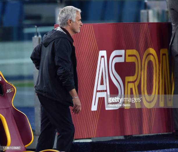 Josè Mourinho head coach of AS Roma leaves the pitch after the referee Davide Massa shows him a red card during the Serie A match between AS Roma and...