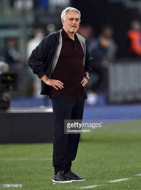 Josè Mourinho head coach of AS Roma looks on during the Serie A match between AS Roma and SSC Napoli at Stadio Olimpico on October 24, 2021 in Rome,...