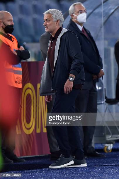 Josè Mourinho head coach of AS Roma reacts after the referee Davide Massa shows him a red card during the Serie A match between AS Roma and SSC...
