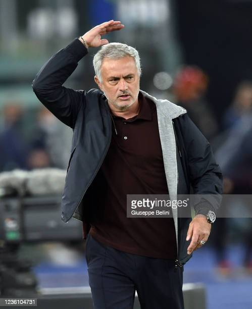 Josè Mourinho head coach of AS Roma reacts during the Serie A match between AS Roma and SSC Napoli at Stadio Olimpico on October 24, 2021 in Rome,...