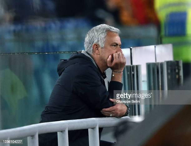 Josè Mourinho head coach of AS Roma watches the game leaning against the balustrade of the grandstand after the referee showed him the red card and...