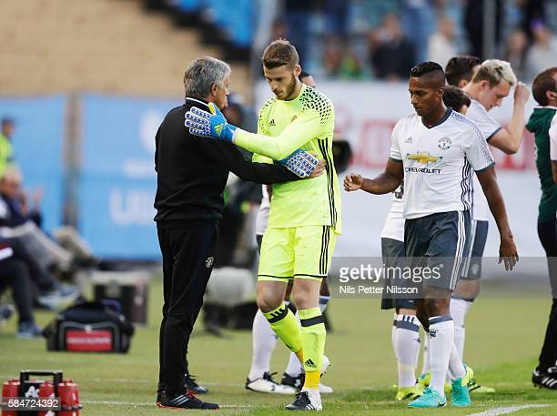 José Mourinho head coach of Manchester United and David de Gea goalkeeper of Manchester United during the preseason Friendly between Manchester...