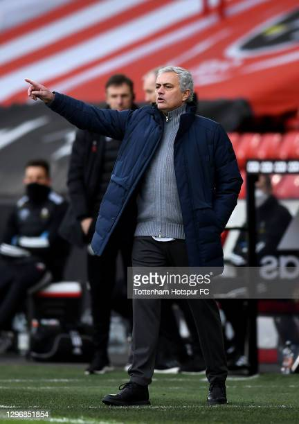 José Mourinho, Manager of Tottenham Hotspur gives instructions to their side during the Premier League match between Sheffield United and Tottenham...