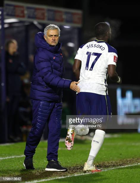 José Mourinho, Manager of Tottenham Hotspur interacts with Moussa Sissoko of Tottenham Hotspur during The Emirates FA Cup Fourth Round match between...