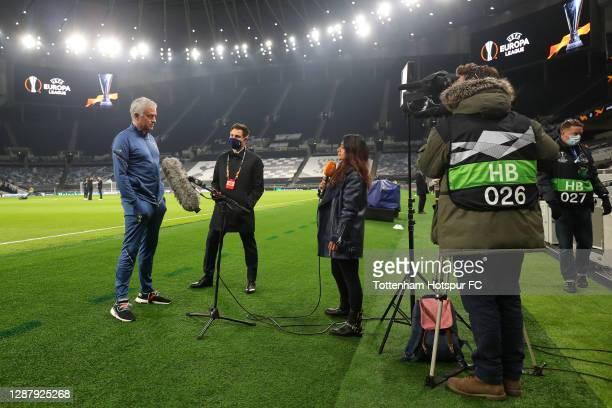 José Mourinho Manager of Tottenham Hotspur is interviewed ahead of the UEFA Europa League Group J stage match between Tottenham Hotspur and PFC...