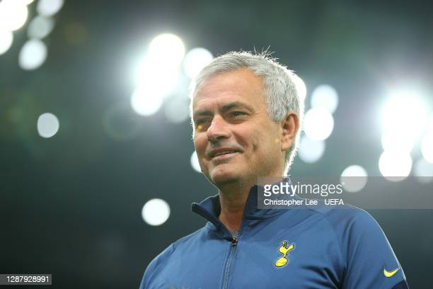 José Mourinho Manager of Tottenham Hotspur looks on as he is interviewed ahead of the UEFA Europa League Group J stage match between Tottenham...