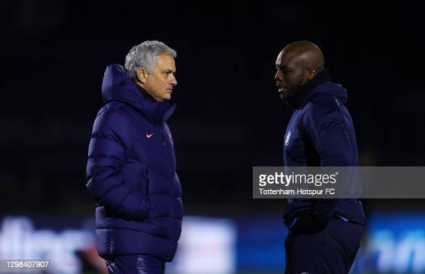 José Mourinho, Manager of Tottenham Hotspur speaks with Adebayo Akinfenwa of Wycombe Wanderers during The Emirates FA Cup Fourth Round match between...