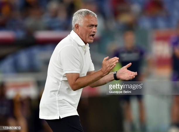 José Mário dos Santos Mourinho Félix head coach of AS Roma reacts during the Serie A match between AS Roma and ACF Fiorentina at Stadio Olimpico on...