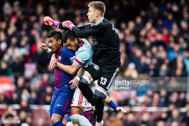 Jos Paulo Bezerra Paulinho from Brazil Of FC Barcelona during the La Liga match between FC Barcelona v Celta de Vigo at Camp Nou Stadium on December...
