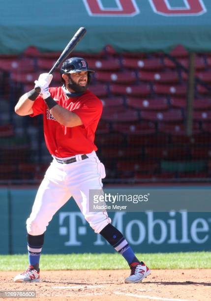 José Peraza of the Boston Red Sox at bat against the Washington Nationals during the third inning at Fenway Park on August 30, 2020 in Boston,...