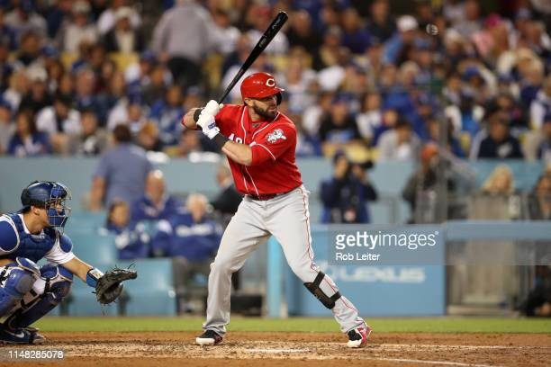 José Peraza of the Cincinnati Reds bats during the game between the Cincinnati Reds and the Los Angeles Dodgers at Dodger Stadium on Monday, April...