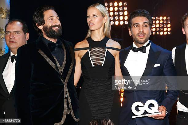 José RedondoVega Adrien Brody Karolina Kurkova and Elyas M'Barek are seen on stage at the GQ Men Of The Year Award 2014 at Komische Oper on November...