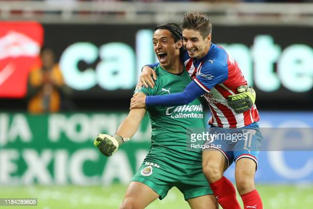 José Rodríguez goalkeeper of Chivas celebrates his goal during the 19th round match between Chivas and Veracruz as part of the Torneo Apertura 2019...