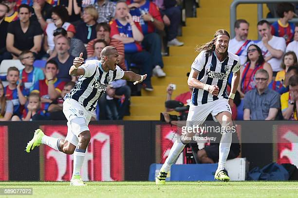 José Salomón Rondón of West Bromwich Albion celebrates scoring his sides first goal during the Premier League match between Crystal Palace and West...