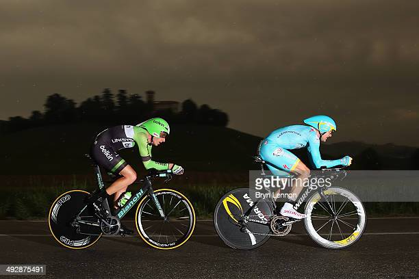 Jos van Emden of the Netherlands and Belkin rides behind Borut Bozic of Slovenia and Astana during the twelfth stage of the 2014 Giro d'Italia a 42km...