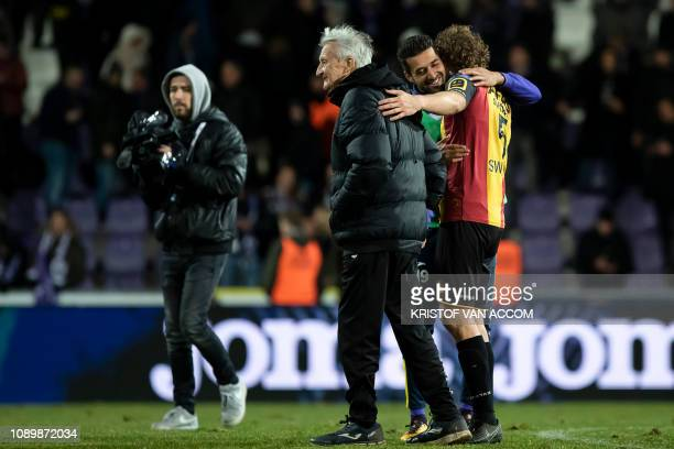 Jos Van Hout Beerschot's Mohamed Messoudi and Mechelen's Arjan Swinkels pictured after a soccer game between Beerschot Wilrijk and KV Mechelen...