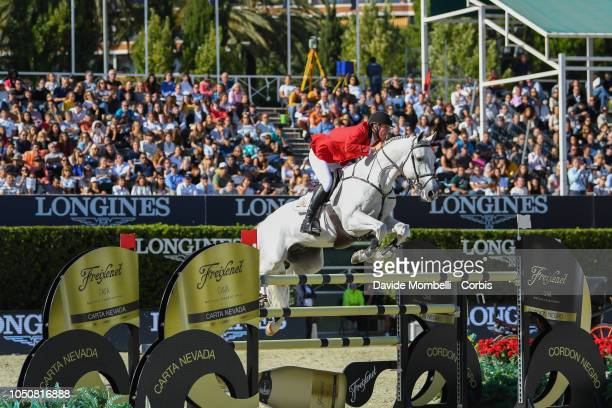 Jos Verlooy of Belgium riding Caracas during Longines FEI Jumping Nations Cup Final Competition on October 7 2018 in Barcelona Spain