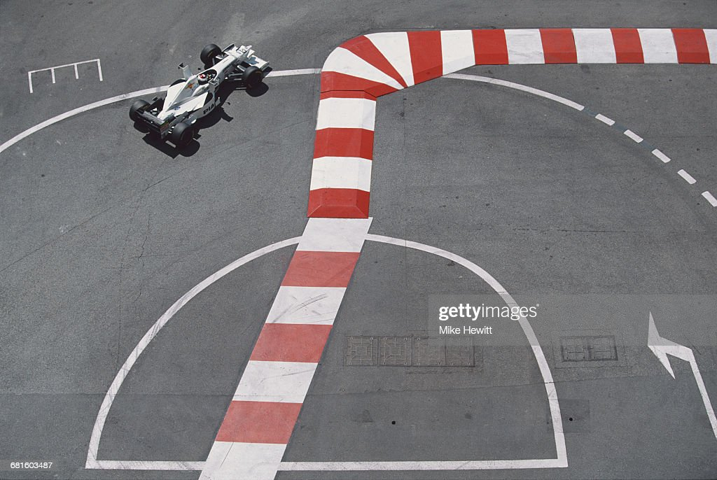 Jos Verstappen of the Netherlands drives the #18 PIAA Tyrrell Tyrrell 025 Ford V8 during the Grand Prix of Monaco on 11 May 1997 on the streets of the Principality of Monaco in Monte Carlo, Monaco.