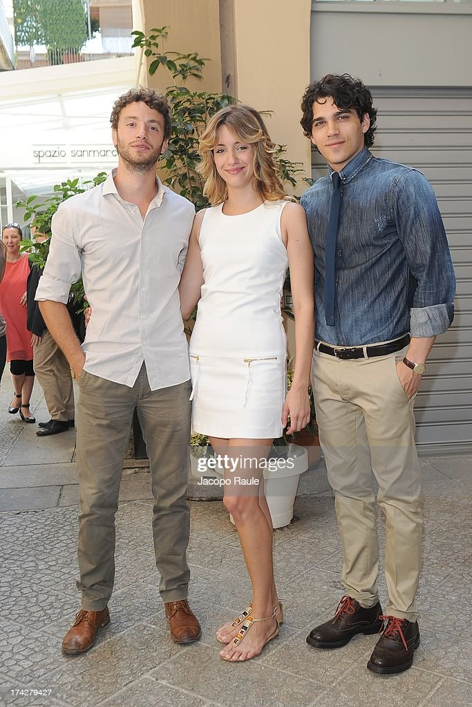 Josafat Vagni, Giulia Carpaneto and Giuseppe Maggio attend 'Vent'Anni Prima' Press Conference on July 23, 2013 in Milan, Italy. Vanity Fair and Rai Fiction present today the first mag series.