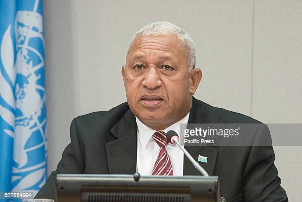 "Josaia Voreqe Bainimarama speaks to the press. Fiji's Permanent Mission to the United Nations held a press conference at UN HQ titled ""Implementation..."
