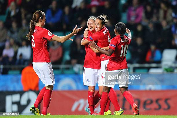 Josanne Potter of England celebrates with teammates after scoring a goal during UEFA Women's Euro 2017 Qualifier match between Estonia and England at...