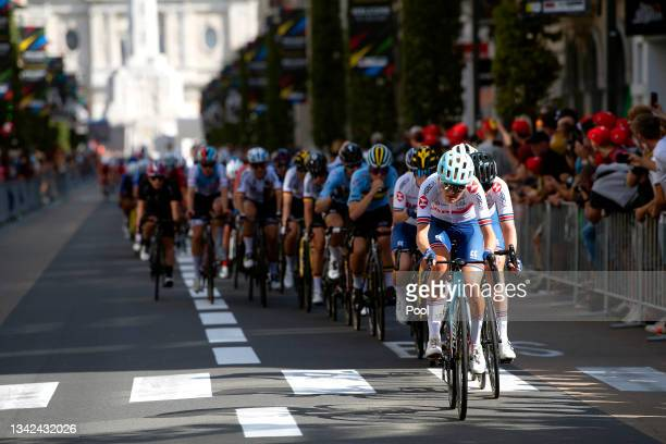 Joscelin Lowden of Great Britain leads the peloton during the 94th UCI Road World Championships 2021 - Women Elite Road Race a 157,7km race from...