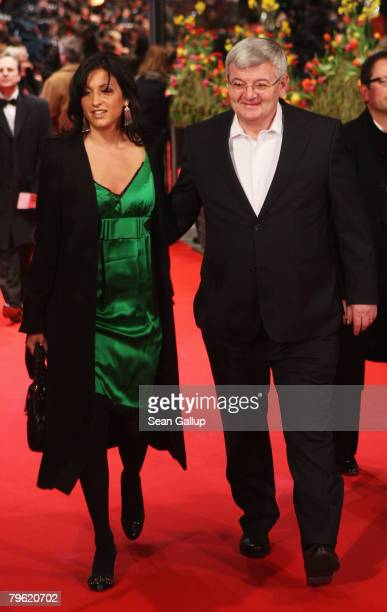 Joschka Fischer and Minu Barati attend the 'Shine A Light' Premiere as part of the 58th Berlinale Film Festival at the Berlinale Palast on February 7...